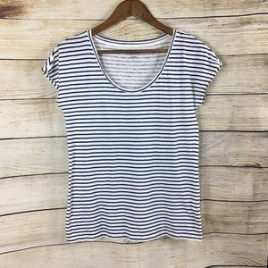 J.Crew Vintage Cotton Blue & White Striped Tee Med